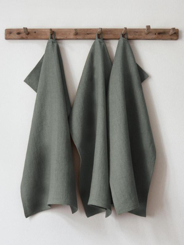 Thyme Green handduk från Linneverket